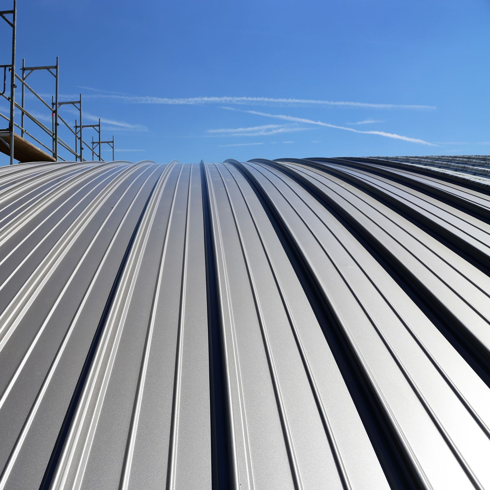 An industrial standing seam roof