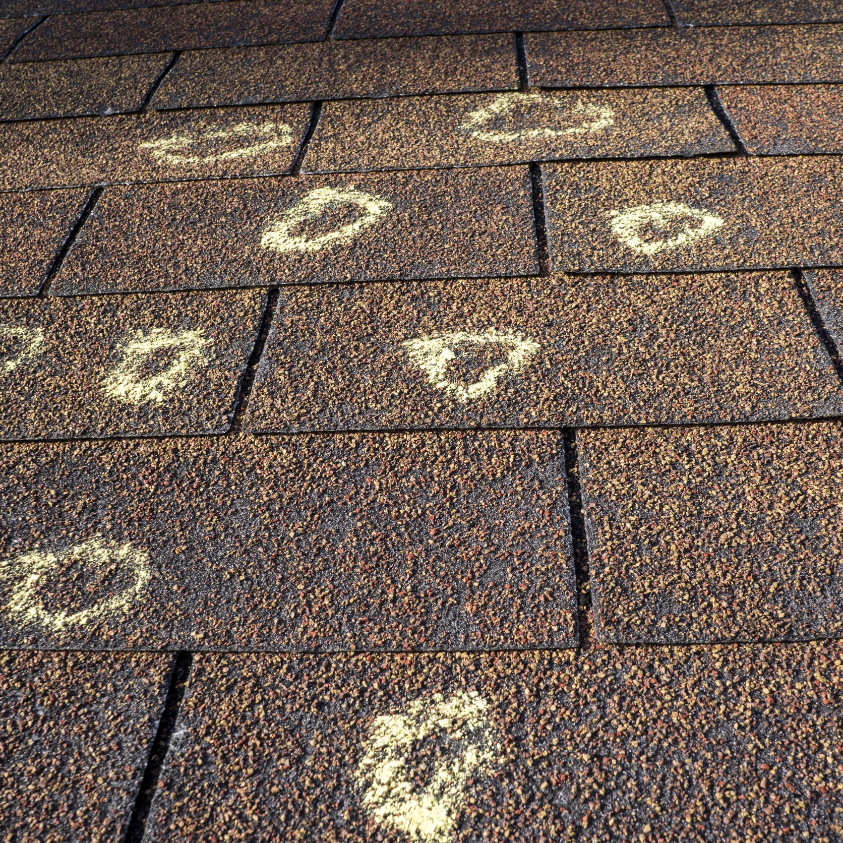 Damaged Spots marked by a roofer